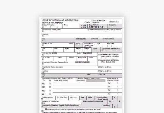 traffic ticket citation